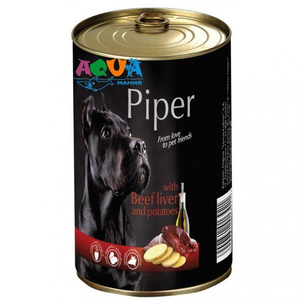 консервы для собак Dolina Noteci PIPER говяжья печень/картофель 400 г в жестяной банке