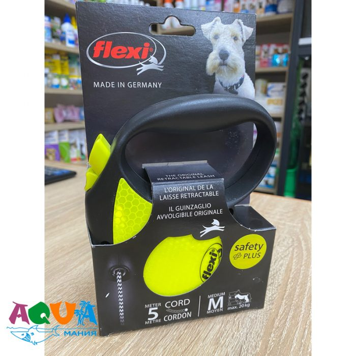 Рулетка для собак FLEXI Neon Reflekt M 5 м до 20 кг Трос