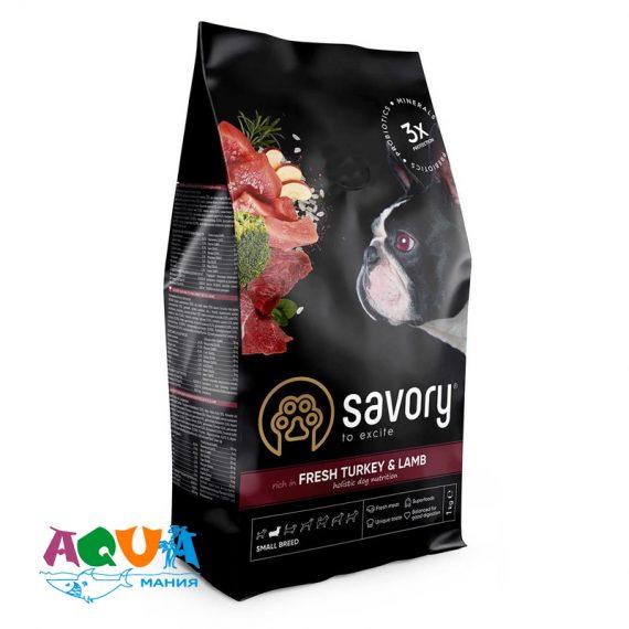 Сухой корм Savory для собак малых пород со свежим мясом индейки и ягнятиной купить с доставкой