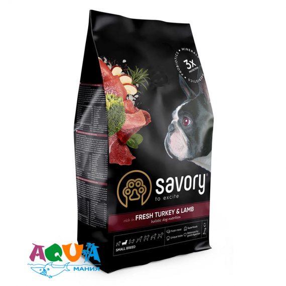 Сухой корм Savory для собак малых пород со свежим мясом индейки и ягнятиной 3 кг