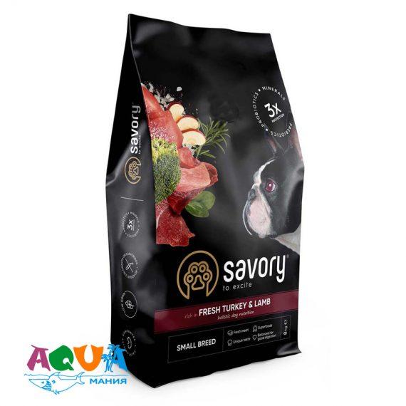 Сухой корм Savory для собак малых пород со свежим мясом индейки и ягнятиной 8 кг купить с доставкой по украине
